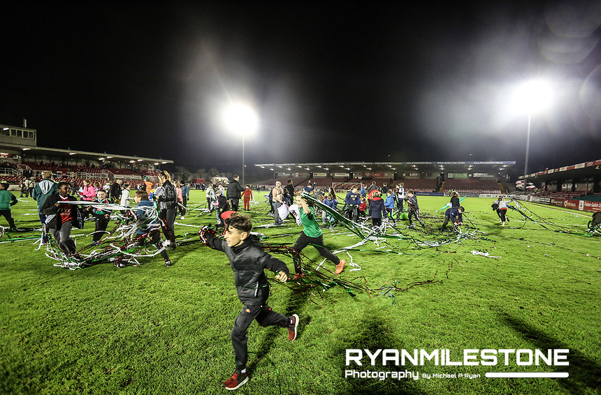 2017 SSE Airtricity League Premier Division,<br /> Cork City vs Bray Wanderers,<br /> Friday 27th October 2017,<br /> Turners Cross, Cork.<br /> young Cork City's fans on the field after the celebrations.<br /> Photo By: Michael P Ryan