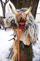 Buso's on the Monady house visits of  the Busojaras Spring  festival 2010 Mohacs Hungary - Stock photos
