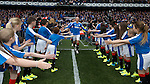 Kenny Miller leads out the Rangers players to the podium