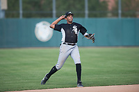 Chicago White Sox shortstop Lency Delgado (12) throws to first base during an Instructional League game against the Oakland Athletics at Lew Wolff Training Complex on October 5, 2018 in Mesa, Arizona. (Zachary Lucy/Four Seam Images)