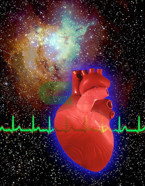 metaphoric composite photo illustration with icons of health including heart and heart beat monitor, caduceus and DNA modeling