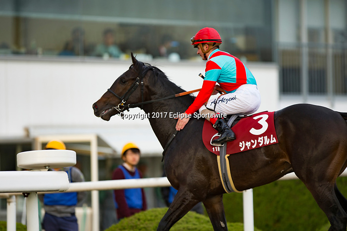 KYOTO,JAPAN-NOVEMBER 11: Gendarme,ridden by Andrea Atzeni, after winning the Daily Hai Nisai Stakes at Kyoto Racecourse on Nobember 11,2017 in Kyoto,Kyoto,Japan (Photo by Kaz Ishida/Eclipse Sportswire/Getty Images)