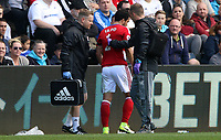 Fábio of Middlesbrough on the side lines with medical staff pulls away after his requests to return to playare denied after becoming concust during the Premier League match between Swansea City and Middlesbrough at The Liberty Stadium, Swansea, Wales, UK.