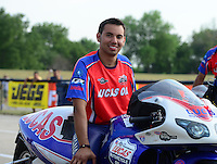 Jun. 29, 2012; Joliet, IL, USA: NHRA pro stock motorcycle rider Hector Arana Jr during qualifying for the Route 66 Nationals at Route 66 Raceway. Mandatory Credit: Mark J. Rebilas-