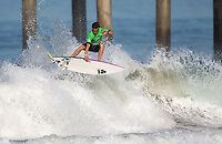 Huntington Beach, CA - Thursday August 03, 2017: Kiron Jabour during a World Surf League (WSL) Qualifying Series (QS) second round heat in the 2017 Vans US Open of Surfing on the South side of the Huntington Beach pier.