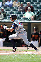 Toledo Mudhens designated hitter Scott Thorman #50 during a game against the Rochester Red Wings at Frontier Field on June 2, 2011 in Rochester, New York.  Rochester defeated Toledo 8-0.  Photo By Mike Janes/Four Seam Images