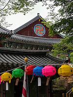 Schmuck zu Buddha's Geburtstag am Tempel Heinsa nahe Daegu, Provinz Gyeongsangnam-do, Südkorea, Asien, UNESCO Weltkulturerbe<br /> decoration at Buddha's birthday,  buddhist temple heinsa near Daegu,  province Gyeongsangbuk-do, South Korea, Asia, UNESCO world-heritage