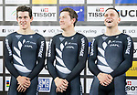 The team of New Zealand with Ethan Mitchell, Edward Dawkins and Sam Webster celebrates after winning the Men's Team Sprint Finals match as part of the 2017 UCI Track Cycling World Championships on 12 April 2017, in Hong Kong Velodrome, Hong Kong, China. Photo by Victor Fraile / Power Sport Images