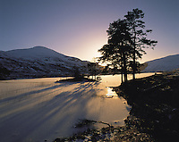 Silhouetted trees stand beside frozen Loch Lunndabra and hills of the Mamore range in winter near Fort William, Scottish Highland