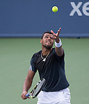 Jo Wilfried Tsonga (FRA) loses to Mikhail Youzhny (RUS) 6-1, 6-4 at the Western & Southern Open in Mason, OH on August 12, 2014.
