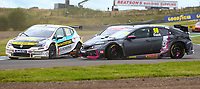 30th August 2020; Knockhill Racing Circuit, Fife, Scotland; Kwik Fit British Touring Car Championship, Knockhill, Race Day; Josh Cook is sent sideways in a collision with Jack Butel