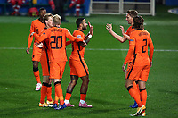 Netherlands's Donny van de Beek, second from right, celebrates with his teammates after scoring during the UEFA Nations League football match between Italy and Netherlands at Bergamo's Atleti Azzurri d'Italia stadium, October 14, 2020.<br /> UPDATE IMAGES PRESS/Isabella Bonotto