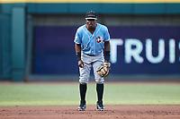 Hickory Crawdads third baseman Jose Acosta (2) on defense against the Winston-Salem Dash at Truist Stadium on July 10, 2021 in Winston-Salem, North Carolina. (Brian Westerholt/Four Seam Images)