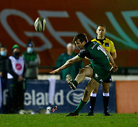 20th February 2021; Galway Sportsgrounds, Galway, Connacht, Ireland; Guinness Pro 14 Rugby, Connacht versus Cardiff Blues; Jack Carty kicks a conversion for Connacht