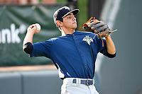 Shortstop Andres Gimenez (13) of the Columbia Fireflies warms up before a game against the Greenville Drive on Wednesday, June 14, 2017, at Fluor Field at the West End in Greenville, South Carolina. Columbia won, 6-2, in 11 innings. (Tom Priddy/Four Seam Images)