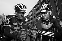 Fabian Cancellara & Bernie Eisel at the start..74th Gent-Wevelgem (2012).236km between Deinze & Wevelgem.winner 2012: Tom Boonen..