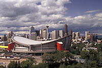 AJ3619, Calgary, skyline, Alberta, Sadledome, Canada, The Canadian Airlines Saddledome and skyline of Calgary in the province of Alberta.