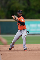 Baltimore Orioles Carlos Baez (52) throws home during a Minor League Spring Training game against the Tampa Bay Rays on March 16, 2019 at the Buck O'Neil Baseball Complex in Sarasota, Florida.  (Mike Janes/Four Seam Images)