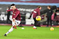 Declan Rice of West Ham United warms up during West Ham United vs Aston Villa, Premier League Football at The London Stadium on 30th November 2020