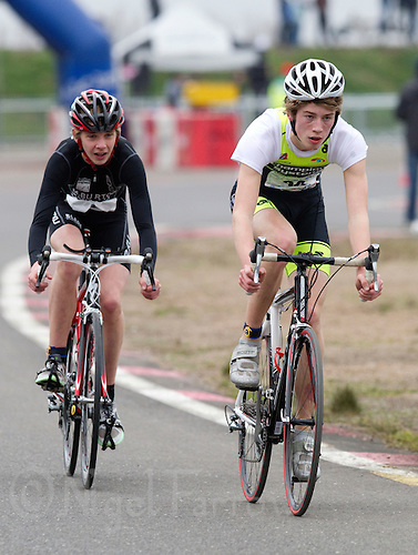 27 MAR 2011 - LOUGHBOROUGH, GBR - Miles Burton (left) and Finlay Rae (right) break away from the pack during the British Youth Mens Duathlon Championships (PHOTO (C) NIGEL FARROW)