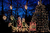 Christmas lights glow in the town of McAdenville, NC. The town of McAdenville has been celebrating Christmas by decorating the homes in town with red, green and white lights and has come to be known as Christmas Town USA.