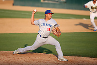 Armando Ruiz (19) of the Stockton Ports pitches against the Rancho Cucamonga Quakes at Loan Mart Field on July 16, 2017 in Rancho Cucamonga, California. Rancho Cucamonga defeated Stockton 9-1. (Larry Goren/Four Seam Images)