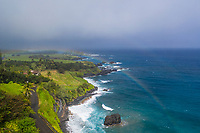 More than one rainbow is seen over the Hana coastline of Maui.
