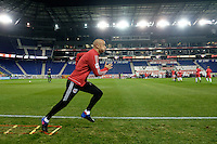 Harrison, NJ - Wednesday Feb. 22, 2017: Aurelien Collin prior to a Scotiabank CONCACAF Champions League quarterfinal match between the New York Red Bulls and the Vancouver Whitecaps FC at Red Bull Arena.