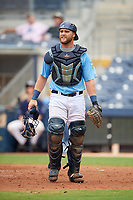 Charlotte Stone Crabs catcher Joey Roach (4) during a Florida State League game against the Bradenton Maruaders on August 7, 2019 at Charlotte Sports Park in Port Charlotte, Florida.  Charlotte defeated Bradenton 2-0 in the first game of a doubleheader.  (Mike Janes/Four Seam Images)