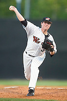 Winston-Salem's Lucas Harrell winds up to deliver a pitch to the plate versus the Frederick Keys at Ernie Shore Field in Winston-Salem, NC, Thursday, June 15, 2006.  Winston-Salem defeated Frederick 1-0 in game 1 of a double-header.