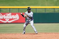Peoria Javelinas shortstop Lucius Fox (5), of the Tampa Bay Rays organization, prepares to make a throw to first base during an Arizona Fall League game against the Mesa Solar Sox at Sloan Park on October 24, 2018 in Mesa, Arizona. Mesa defeated Peoria 4-3. (Zachary Lucy/Four Seam Images)