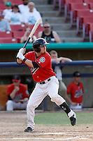 Brock Hebert #4 of the High Desert Mavericks bats against the Modesto Nuts at Stater Bros. Stadium on June 29, 2013 in Adelanto, California. Modesto defeated High Desert, 7-2. (Larry Goren/Four Seam Images)