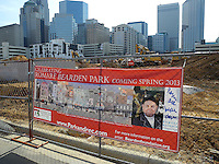 The Romare Bearden Park, which is currently under construction and scheduled for a 2013 opening, is adjacent to the Charlotte Knights' new BB&T Ballpark under construction at the intersections of Mint, Martin Luther King, Graham and 4th Streets in downtown Charlotte, North Carolina. The Knights are a Class AAA International League affiliate of the Chicago White Sox. (Tom Priddy/Four Seam Images)