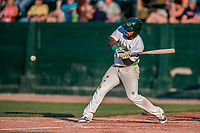 20 August 2017: Vermont Lake Monsters outfielder Logan Farrar, a 36th round draft pick for the Oakland Athletics, in action against the Connecticut Tigers at Centennial Field in Burlington, Vermont. The Lake Monsters rallied to edge out the Tigers 6-5 in 13 innings of NY Penn League action.  Mandatory Credit: Ed Wolfstein Photo *** RAW (NEF) Image File Available ***