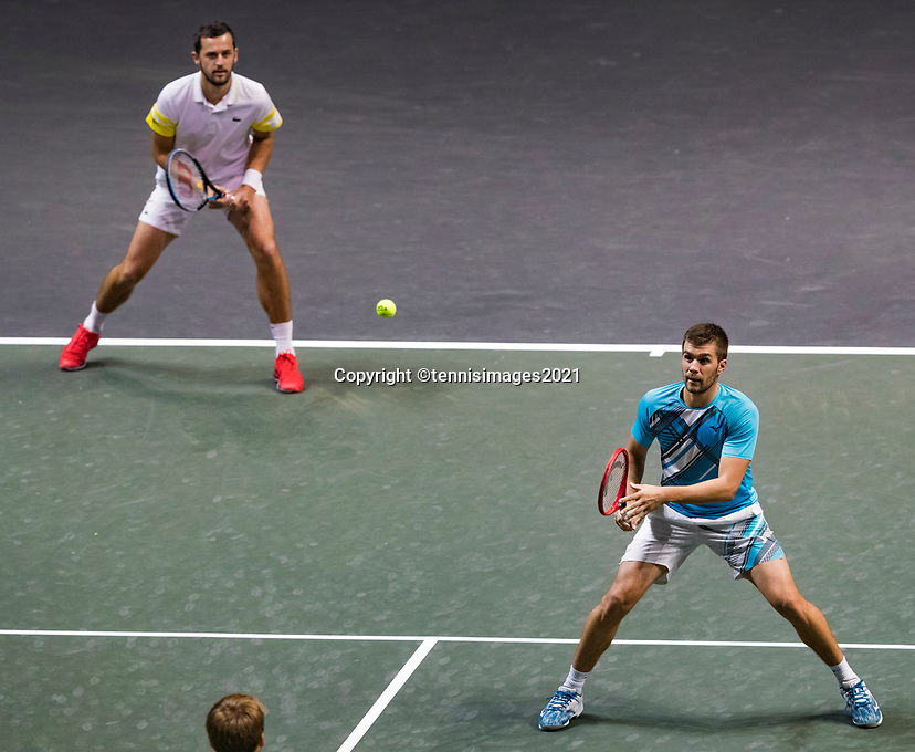 Rotterdam, The Netherlands,7 march  2021, ABNAMRO World Tennis Tournament, Ahoy,  <br /> Doubles final: Nikola Mektic (CRO) vs. Mate Pavic (CRO).<br /> Photo: www.tennisimages.com/henkkoster