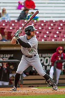 Clinton LumberKings infielder Logan Taylor (14) at bat during a Midwest League game against the Wisconsin Timber Rattlers on May 9th, 2016 at Fox Cities Stadium in Appleton, Wisconsin.  Clinton defeated Wisconsin 6-3. (Brad Krause/Four Seam Images)