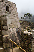 Peru, Machu Picchu.  Outer Wall of the Temple of the Sun.
