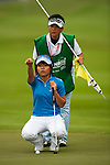 Pei-Ying Tsai of Taiwan lines up a putt on the 9th green during day one of the Sunrise LPGA Taiwan Championship 2011 at the Sunrise Golf & Country Club on 20 October 2011 in Tao Yuan, Taiwan. Photo by Victor Fraile / The Power of Sport Images