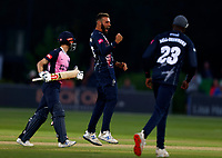 Jack Leaning of Kent celebrates taking the wicket of John Simpson during Kent Spitfires vs Middlesex, Vitality Blast T20 Cricket at The Spitfire Ground on 11th June 2021