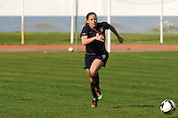 Cat Whitehill pushes the ball up the field. The USWNT defeated Iceland (2-0) at Vila Real Sto. Antonio in their opener of the 2010 Algarve Cup on February 24, 2010.