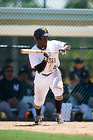 GCL Pirates center fielder Yondry Contreras (41) squares to bunt during a game against the GCL Yankees East on August 15, 2016 at the Pirate City in Bradenton, Florida.  GCL Pirates defeated GCL Yankees East 5-2.  (Mike Janes/Four Seam Images)