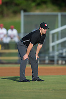 Umpire Chris Silvestri handles the calls on the bases during the Appalachian League game between the Elizabethton Twins and the Danville Braves at American Legion Post 325 Field on July 1, 2017 in Danville, Virginia.  The Twins defeated the Braves 7-4.  (Brian Westerholt/Four Seam Images)