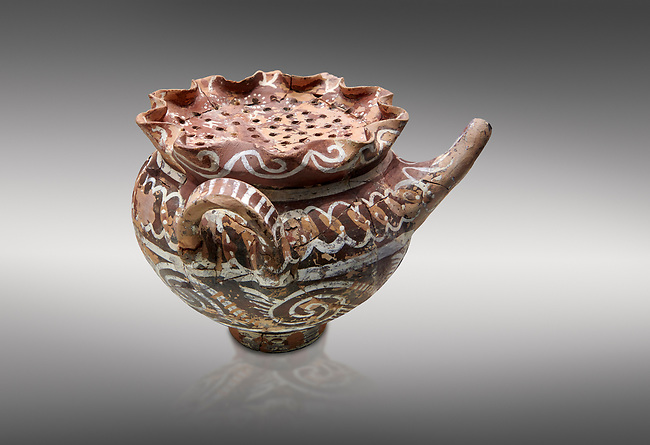 """Minoan Kamares Ware beak spouted """"teapot"""" with herb strainer and  polychrome decorations, Phaistos 1800-1650 BC; Heraklion Archaeological  Museum, grey background.<br /> <br /> This style of pottery is named afetr Kamares cave where this style of pottery was first found"""