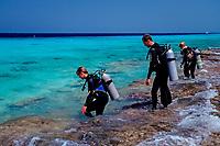 People preparing to dive, Netherland Antilles, Bonaire, Caribbean Sea, Atlantic