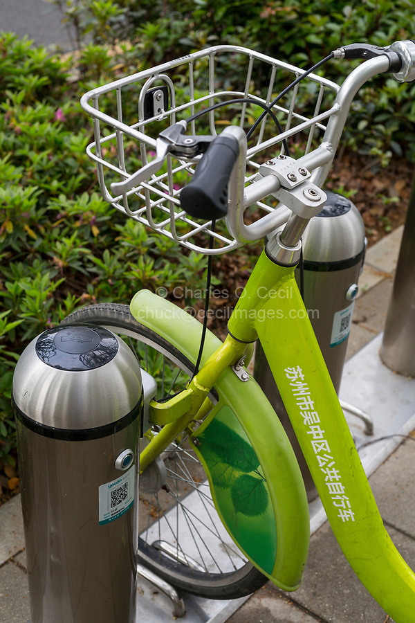 Suzhou, Jiangsu, China.  Rental Bikes Waiting to be Hired.