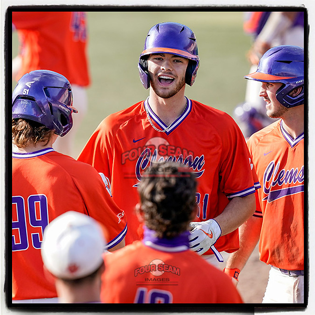 Clemson freshman Caden Grice, shown here after chalking up an RBI in Saturday's scrimmage, has been listed in Baseball America's Top 2023 College MLB Draft Prospects.