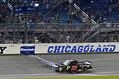 #16: Brett Moffitt, Hattori Racing Enterprises, Toyota Tundra drives under the checkered flag to win