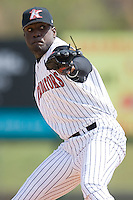 Relief pitcher Santo Luis (28) of the Kannapolis Intimidators in action versus the Asheville Tourists at Fieldcrest Cannon Stadium in Kannapolis, NC, Wednesday April 9, 2008.