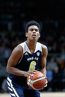July 12, 2016: TRA HOLDER (6) of the Arizona State Sun Devils takes a free throw during game 1 of the Australian Boomers Farewell Series between the Australian Boomers and the American PAC-12 All-Stars at Hisense Arena in Melbourne, Australia. Sydney Low/AsteriskImages.com