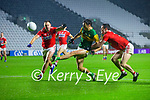 Paul Kerrigan, Cork, and Maurice Shanley, Cork, in action against David Clifford, Kerry during the Munster GAA Football Senior Championship Semi-Final match between Cork and Kerry at Páirc Uí Chaoimh in Cork.
